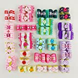 Hixixi 24pcs/12pairs Pet Dog Hair Bows Beautiful Flowers For Party Puppy Grooming Bows Hair Accessories with Rubber Bands (flowers)