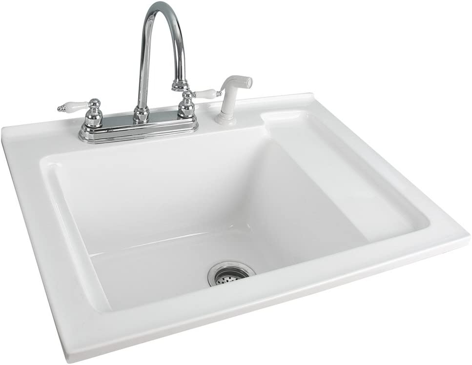 Foremost LS-3021-W Berkshire White Acrylic Laundry Sink with Shelf