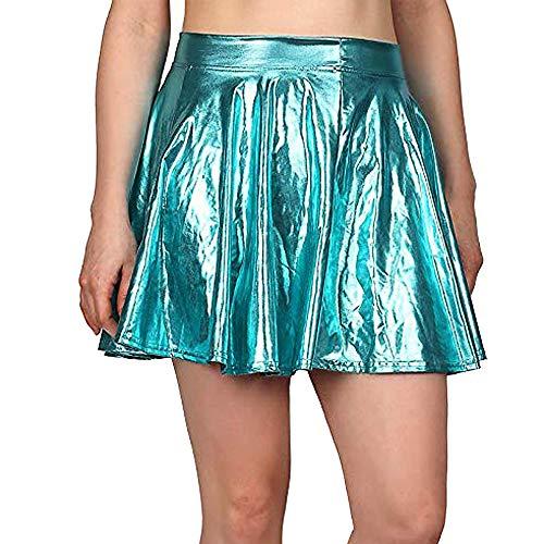 Price comparison product image SMALLE Women Skirt, Punk Style Retro Ruffle Glossy Mini Fishtail Skirt Cheerleading Skirt-Stage Costume Blue