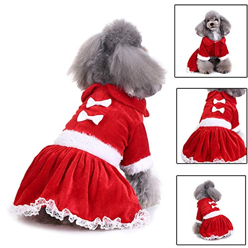(Hpapadks Pet Dog Christmas Butterfly Clip Skirt, Christmas Fashion Comfortable Pet Clothes Festival Dress,Pet Clothes for Puppy)
