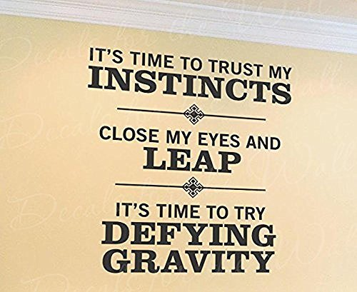 Wall Decal Letters Trust My Instincts Try Leap Defy Gravity Glee Wizard of OZ-Inspirational Motivational Inspiring-ative Vinyl Art Quote Design Sticker Saying Bedroom Decor