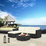 Modern Outdoor Garden, Sectional Sofa Set with Coffee Table - Black Wicker Sofa Furniture Set - Colors Red and Beige (Beige)