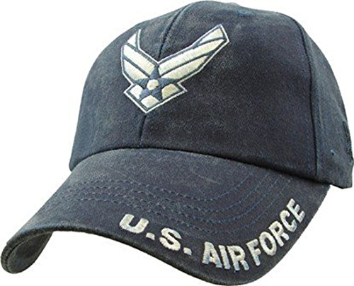 Air Force Cap (U.S. Airforce USAF Wings Logo Embroidered Hat - Navy Adjustable Buckle Closure Cap)