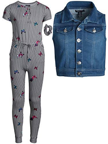 - Limited Too Girl's Butter-Soft-Touch Romper with Vest and Matching Headband 3-Piece Set, Heather Grey/Butterflies, Size X-Large / 12'