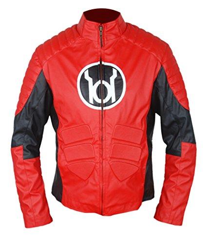 F&H Boy's Red Lantern Guy Gardner Cafe Racer Jacket M (Guy Gardner Costume)
