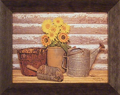 Pick Of The Day by Susie Boyer 16x20 Yellow Flowers Daisies Gardening Wood Bucket Watering Can Vintage Crock Framed Art Print Picture