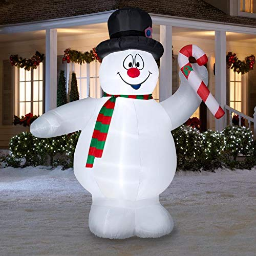 Gemmy 9Ft. Inflatable Frosty The Snowman with Candy Cane Indoor/Outdoor Holiday Decoration
