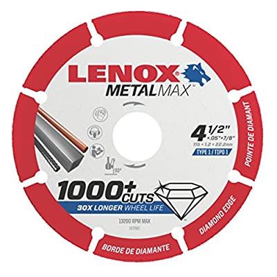 "Lenox Tools 1972921 METALMAX Diamond Edge Cutoff Wheel, 4.5"" x 7/8"" by Lenox"