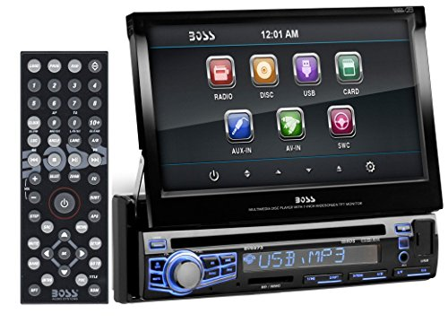 BOSS AUDIO BV9973 Single-DIN 7 inch Motorized Touchscreen DVD Player Receiver, Wireless Remote (Discontinued by Manufacturer) - Roadmaster Car Stereo