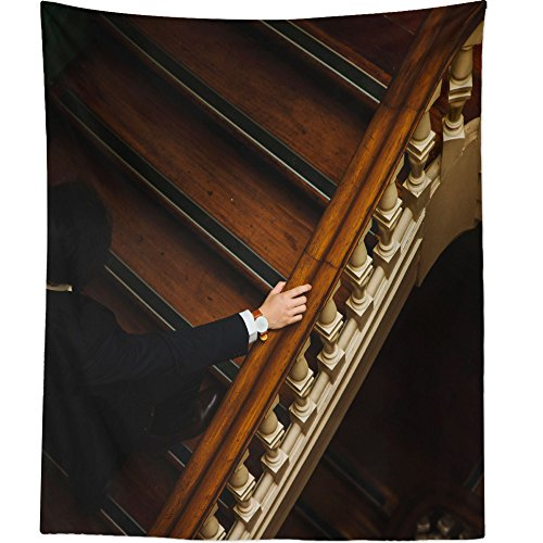 Westlake Art - Wall Hanging Tapestry - Staircase Wooden - Photography Home Decor Living Room - (Grand Staircase Wall Tapestry)