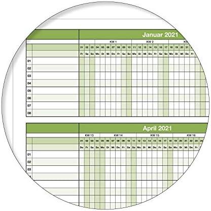 enrollado con 1 perno EDDING Calendario de pared 2021 XL 100 x 70 cm cartel calendario verde h/úmedo lavable