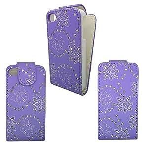 Libro de Casos tirón magnético Monedero Nuevo Móvil Stylez Apple iPhone 4 / 4G / 4S prima Pu piel cubierta de bolsa Plus largo Stylus Pen(lilck glitter flip)