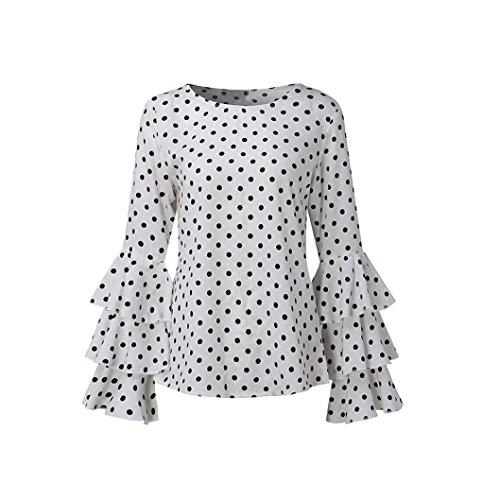 Shirt Blouse T Dot MORCHAN Vintage Shirt Femme Rond Col Longues Chic Chemise Loose Retro Cloche Tunique Casual Ladies Tee Blanc Polka Manche Tops HCPqrwaH