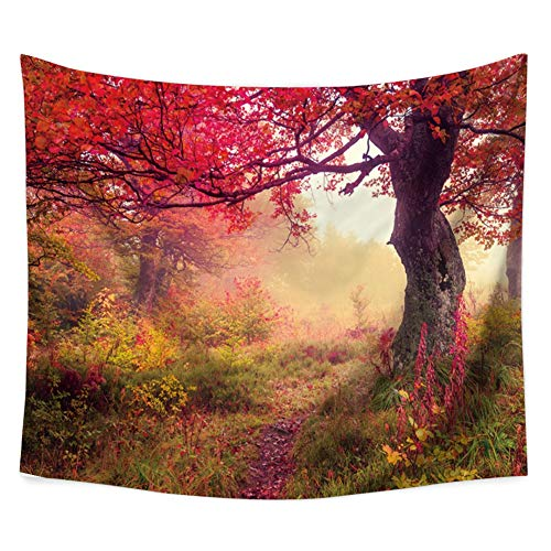 Adarl Natural Red Maple Psychedelic Tapestry Hanging Wall Tapestries Hippy Boho Gypsy Full-Polyester Tapestry Table Cover Bedspread Beach Towel