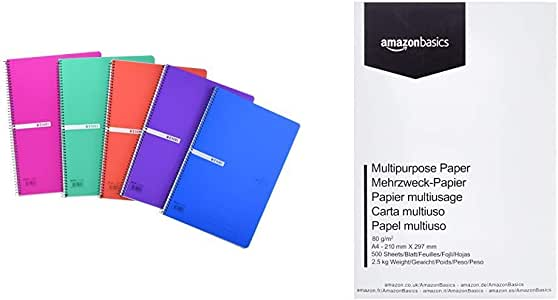 Enri 400042280 Pack de 5 cuadernos espiral, tapa plástico translúcido, Fº, surtido : colores aleatorios & AmazonBasics Papel multiusos para impresora A4 80gsm, 1 paquete, 500 hojas, blanco: Amazon.es: Oficina y papelería