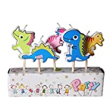 Elison-5 Pcs Paraffin Cartoon Animal Children Kids Birthday Party Cake Candle Decoration Romantic Party with Wooden Stick Dinosaur