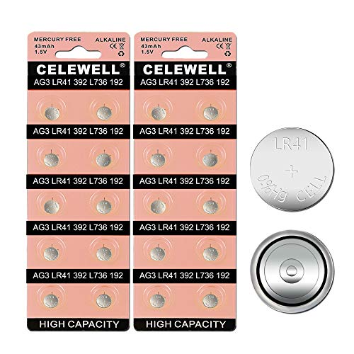 CELEWELL 20 Pack LR41 AG3 192 392 Battery Equivalent Coin Button Cell 5 Years Warranty ()