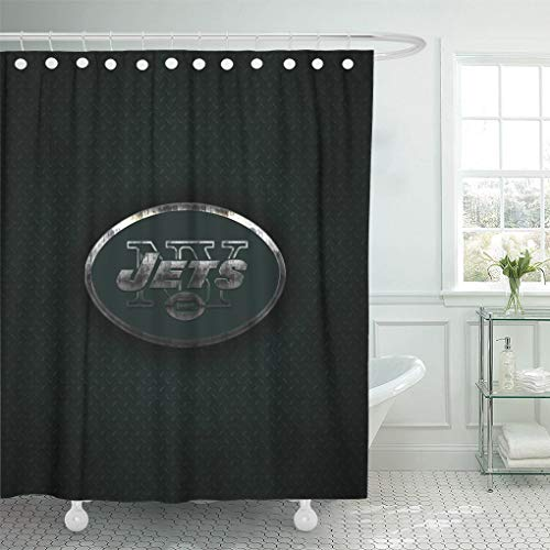 Ladble Decor Shower Curtain Set with Hooks New York Jets Creative Art Emblem Green Metal Background Football 66 X 72 Inches Polyester Waterproof ()