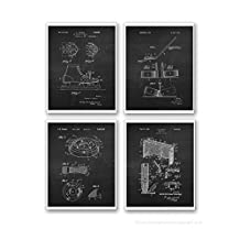 Ice Hockey Wall Decor Set of 4 Unframed Chalkboard Art Prints Boys Room Decor