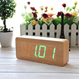 EiioX Fashionable Wood Alarm Clock- Time Temperature Date Display- Sound Control- Bamboo Wood Grain Green LED Clock with USB Cable