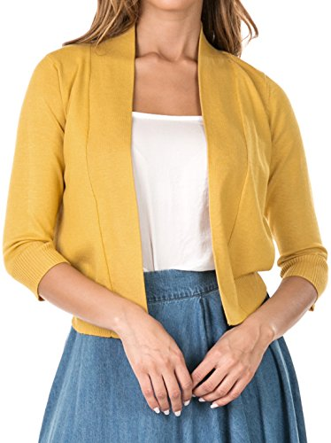 coul J B7-034 Women's 3/4 Sleeve Classic Cropped Open Front Draped Knit Bolero Shrug Cardigan Sweater (Mustard_Large)