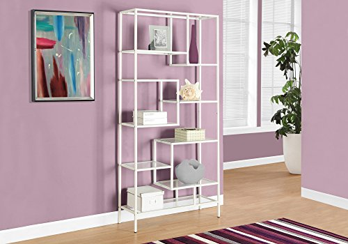 "Amazon.com: Monarch Bookcase, 72"", White/Clear Glass"