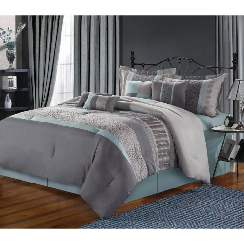 -Piece Embroidered Comforter Set, Aqua King ()