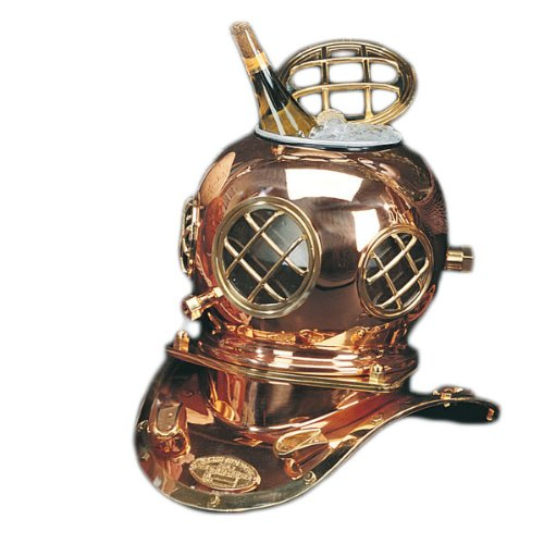 12'' Brass Diving Helmet Ice Champagne Bucket with Lacquer Coating Nautical Tropical Home Decor