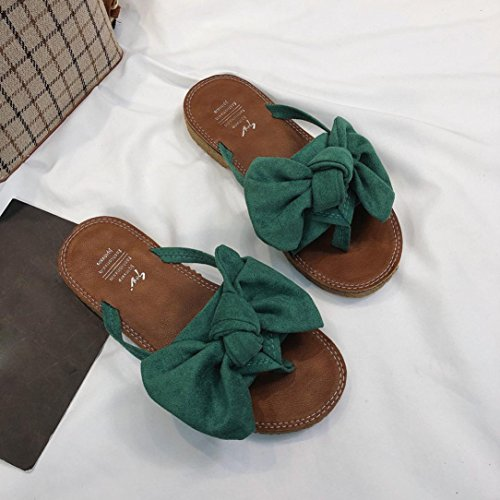 Ferse Color Fliege Sandalen Slipper Fashion Flache Grün Frauen Förderung SANFASHION Große Strandschuhe Solid AwXROAx