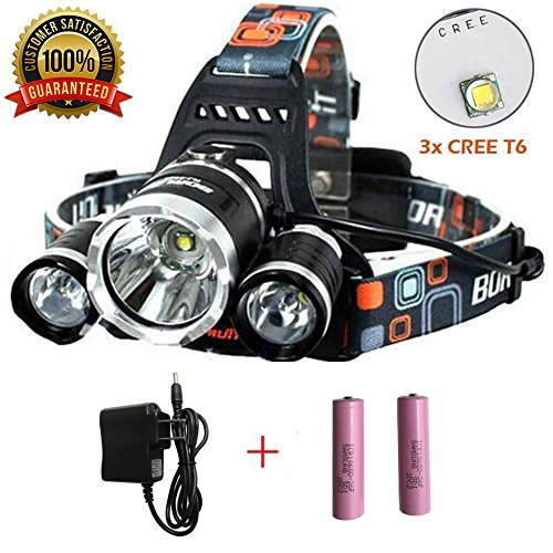 Super Bright Headlamp 15000 Lumens Best 3 T6 CREE LED Lamp Bead and Samsung 18650 3000mAh Rechargeable Li-ion Batteries,Waterproof Head Lights for Camping Running Hiking Fishing