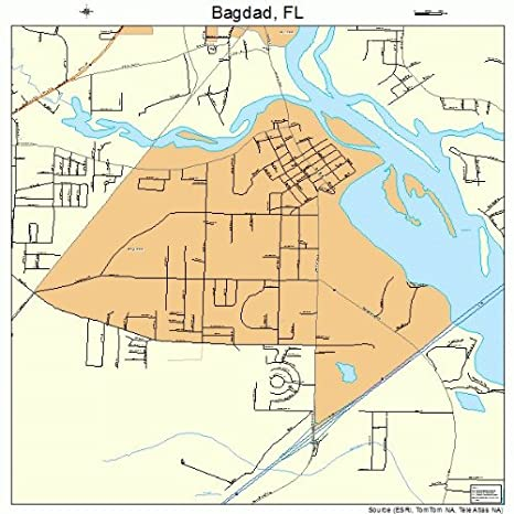 Florida Road Map Atlas.Amazon Com Large Street Road Map Of Bagdad Florida Fl Printed