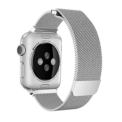 SICCIDEN Compatible for Apple Watch Band 38mm, Milanese Mesh Loop Magnetic Closure Clasp Stainless Steel Replacement iWatch Band Compatible for Apple Watch Series 3 Series 2 Series 1, Silver by SICCIDEN (Image #3)