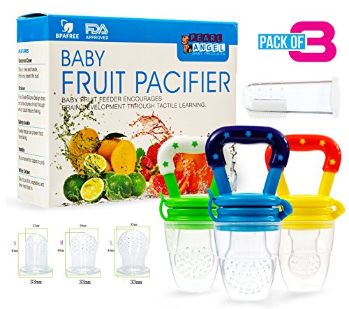 Baby Fruit Feeder Pacifier (3 Pack) - Fresh Food Feeder,Baby Feeding Teething Toy - Baby Food Feeder | Great Teething Pacifier and Fruit Feeding Pacifier- Mesh Feeder Teether With Fresh fruit Nibbler from Pearls Angel
