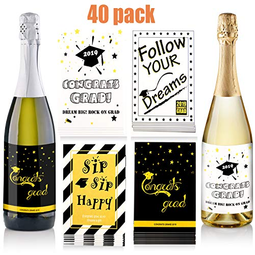 40 Pieces Graduation Wine Labels Stickers Bottle Graduation Stickers Beer Bottle Labels for Graduation Party Supplies, 4 Styles