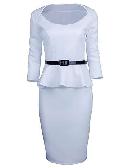 Tom's Ware Womens Classic Long Sleeve Belted Peplum Midi Dress by Tom%27s+Ware
