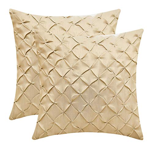 The White Petals Gold Decorative Pillow Covers (Faux Silk, Pinch Pleat, 24x24 inch, Pack of 2)