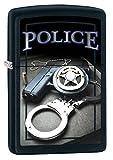 Zippo Custom Lighter: Police Gun, Badge and Handcuffs - Black Matte 78462