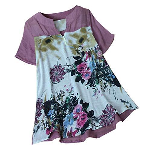 - YOcheerful Women Loose Shirt, Womens Short Sleeve Shirt Spring Summer Cotton Linen Top Blouse Plus Size Jumper Tunic