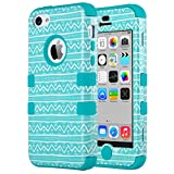 iPhone 5C Case, ULAK 3in1 Anti Scratches iPhone 5C Case Hybrid with Soft Flexible Inner Silicone Skin Protective Case Cover for Apple iPhone 5C Zigzag + Blue