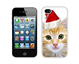 Personalized Design Cute Red Christmas Hat Cat 4 Iphone 4s,Apple Iphone 4s White TPU Cover Case by icecream design