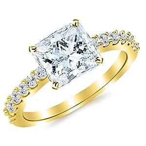 1.43 Cttw 14K Yellow Gold Princess Cut Classic Prong Set Diamond Engagement Ring with a 1 Carat I-J Color VS1-VS2 Clarity Center