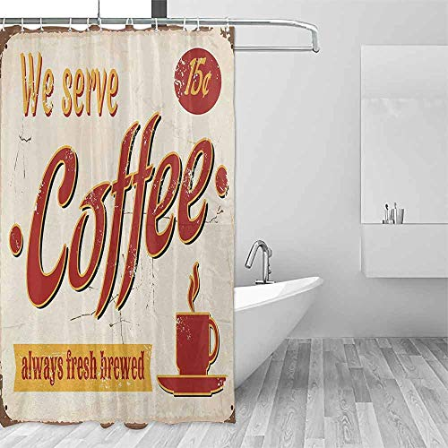 EMODFJCXZ Wrinkle-Free Shower Curtain Retro Tin Rusty Faded Fresh Brewed Coffee Print from Old Days Fifties Style Art Work Decorated Bathroom W60 xL72 Cream Red Orange
