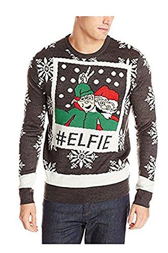 Costumes Ski Forum (Forum Men's Ugly Christmas Sweater, Elfie, Black/White, X-Large)