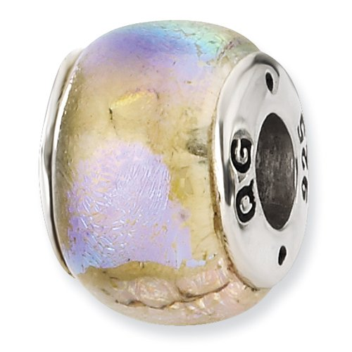 Rainbow Dichroic Glass and .925 Sterling Silver Bead