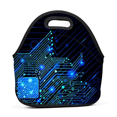 Green Computer Science Circuit Board Bento Boxes Washable Lunch Tote Bags (Bento Board)