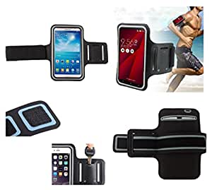 DFV mobile - Armband Professional Cover Neoprene Waterproof Wraparound Sport with Buckle for => Samsung Galaxy Mega 2 LTE > Black