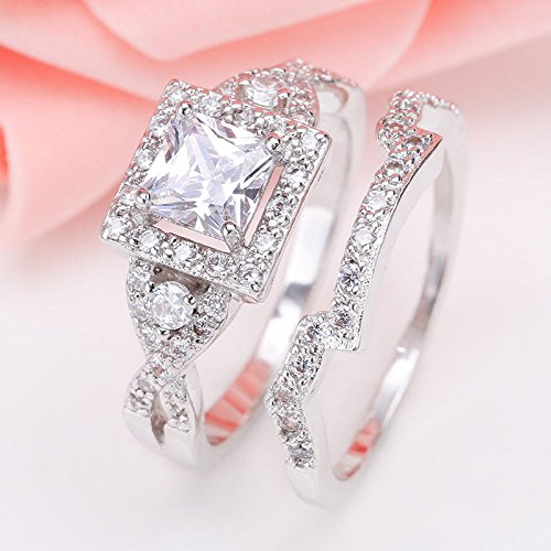 (Dazzling Princess Cut 925 Sterling Silver White Topaz Women Wedding Ring Set (7))
