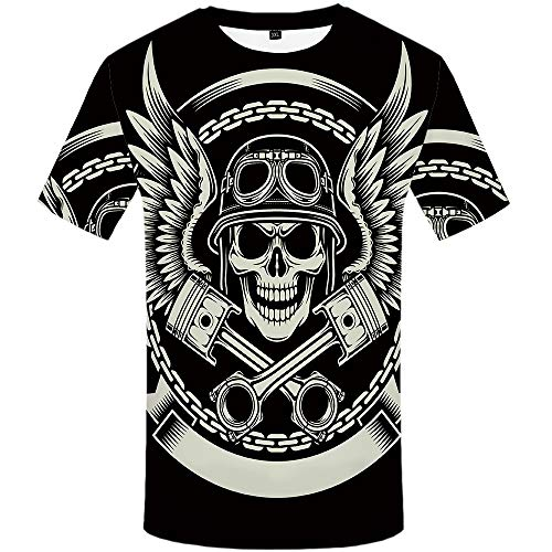 KYKU Skull Shirts for Men Heavy Metal T Shirts Motorcycle Tshirts Graphic Tees (XX-Large)