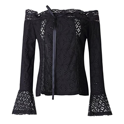 Sleeve Gauze Tunic (Women Blouse, TOPUNDER Off Shoulder Long Sleeve Lace Loose Tops T-Shirt (XXXL, Black))