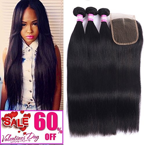 Malaysian Hair 4 Bundles With Closure Straight Remy Hair with 4×4 Lace Closure Human Hair Extensions Natural Black Double weft by Resaca (18 20 22 24 with 16 Free Part) Review